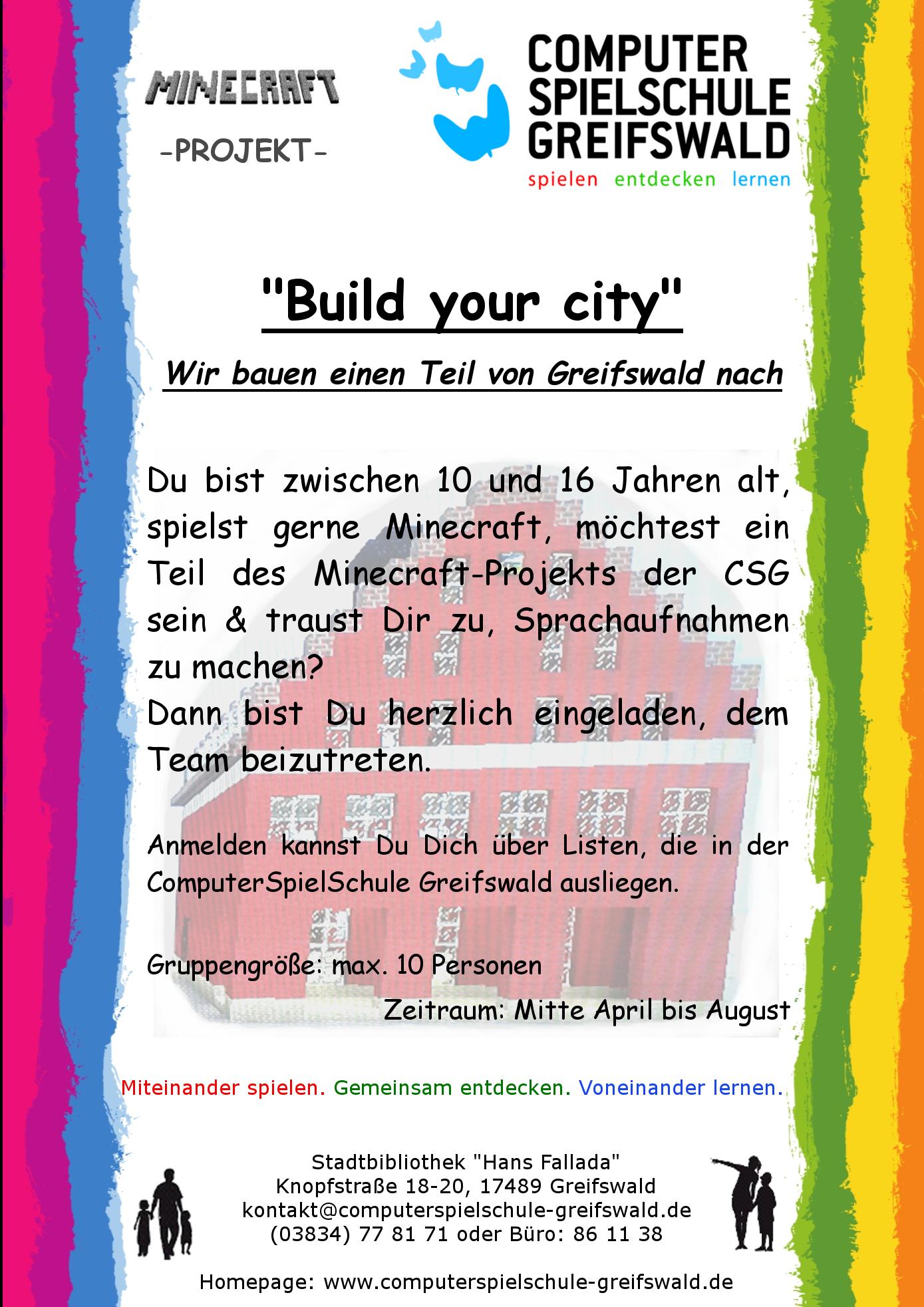 ComputerSpielSchule Greifswald - Minecraft anmelden und spielen